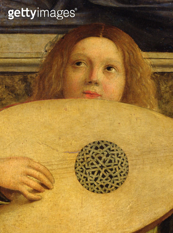 <b>Title</b> : The San Giobbe Altarpiece, detail of angel playing music, c.1487 (oil on panel) (detail of 55433)Additional InfoMadonna and Chil<br><b>Medium</b> : <br><b>Location</b> : Galleria dell' Accademia, Venice, Italy<br> - gettyimageskorea