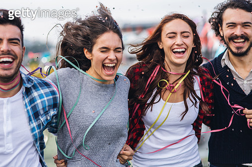 Group of Friends enjoying roof party - gettyimageskorea
