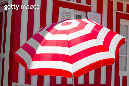 Red and white umbrella - gettyimageskorea