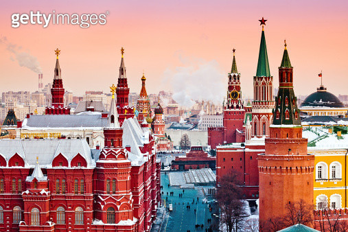 Historical Museum, St.Basil Cathedral, Red Square, Kremlin in Moscow. View from top of the Ritz-Carlton hotel. - gettyimageskorea