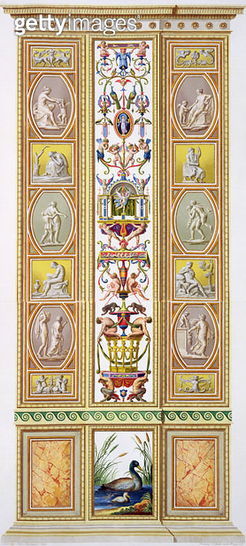 <b>Title</b> : Panel from the Raphael Loggia at the Vatican, from 'Delle Loggie di Rafaele nel Vaticano', engraved by Giovanni Volpato (1735-18<br><b>Medium</b> : <br><b>Location</b> : Private Collection<br> - gettyimageskorea