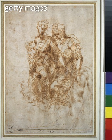 <b>Title</b> : Study of St. Anne, after Leonardo Da Vinci's 'Anne', c.1502 (pen & ink on paper)<br><b>Medium</b> : pen and ink on paper<br><b>Location</b> : Ashmolean Museum, University of Oxford, UK<br> - gettyimageskorea
