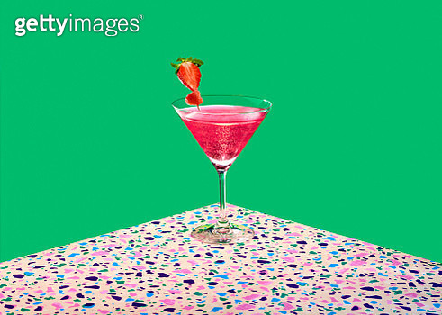 Pink Cocktail over a graphic colorful background - gettyimageskorea
