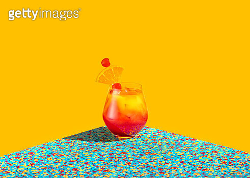 Red and Yellow cocktail shot over a graphic colorful background - gettyimageskorea