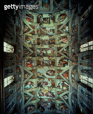 Sistine Chapel Ceiling, 1508-12 (fresco) (post restoration) (for details see 104444, 104445) - gettyimageskorea