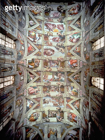 <b>Title</b> : Sistine Chapel Ceiling, 1508-12 (fresco) (post restoration) (for details see 104444, 104445)<br><b>Medium</b> : <br><b>Location</b> : Vatican Museums and Galleries, Vatican City, Italy<br> - gettyimageskorea