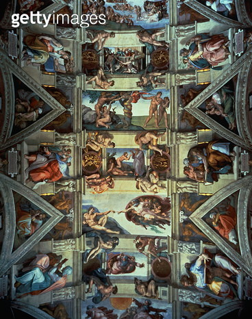 Sistine Chapel ceiling and lunettes, 1508-12 (fresco) (post restoration) - gettyimageskorea