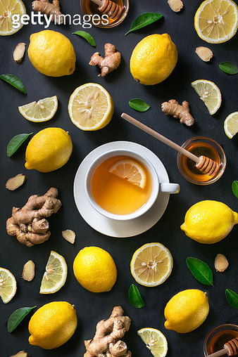 Healthy living herbal tea; lemon honey tea with ginger root. - gettyimageskorea