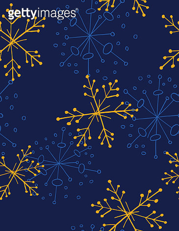 Retro Hand Drawn Snowflakes Background - gettyimageskorea