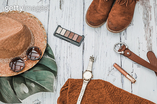overhead shot woman autumn fashion clothes - gettyimageskorea