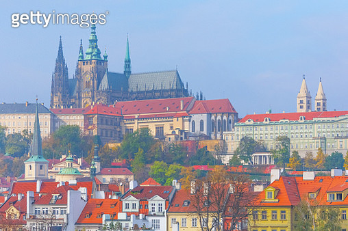 Prague cityscape with the St Vitus's Cathedral and the Hradcany in the background - gettyimageskorea