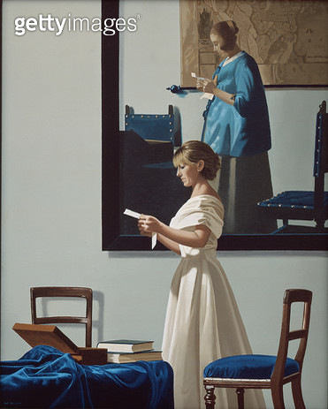 <b>Title</b> : Reading Between the Lines II, 2006 (oil on canvas)Additional InfoWoman Reading a Letter by Jan Vermeer;<br><b>Medium</b> : oil on canvas<br><b>Location</b> : Private Collection<br> - gettyimageskorea