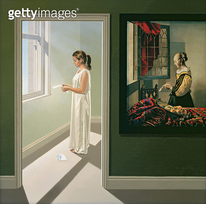 <b>Title</b> : Reading Between the Lines I, 2005 (oil on canvas)Additional InfoGirl at a Window Reading a Letter by Jan Vermeer;<br><b>Medium</b> : oil on canvas<br><b>Location</b> : Private Collection<br> - gettyimageskorea