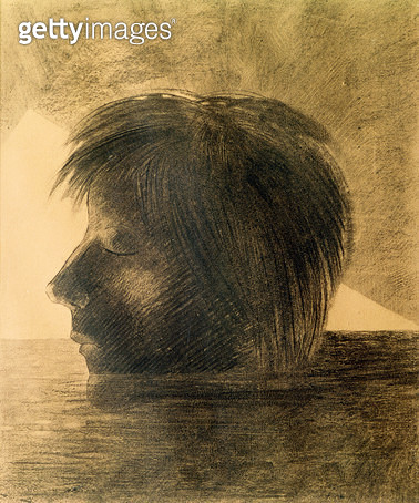 <b>Title</b> : Head of Orpheus on the Water or The Mystic, 1880 (charcoal & pencil on paper)Additional InfoTete d'Orphee sur les Eaux ou Le Mys<br><b>Medium</b> : charcoal and pencil on paper<br><b>Location</b> : Rijksmuseum Kroller-Muller, Otterlo, Nethe - gettyimageskorea