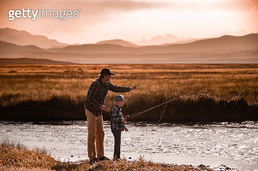 Father and Son Fishing - gettyimageskorea