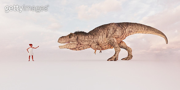 Child telling off T-rex - gettyimageskorea