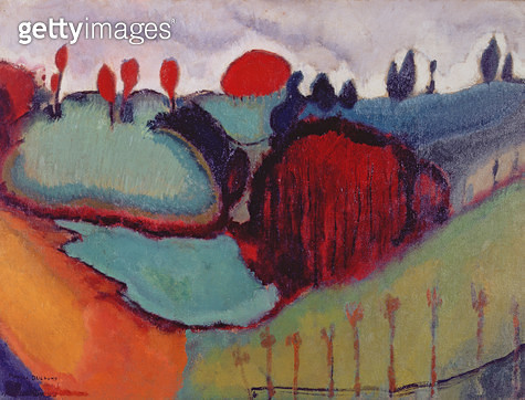 Landscape/ Study for 'Paradise'/ 1911 (oil on canvas) - gettyimageskorea