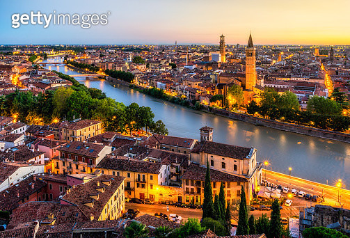 Aerial View of Verona city at Sunset with Adige river. Veneto. Italy - gettyimageskorea