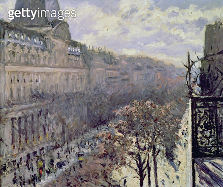 <b>Title</b> : Boulevard des Italiens, c.1880 (oil on canvas)<br><b>Medium</b> : oil on canvas<br><b>Location</b> : Private Collection<br> - gettyimageskorea