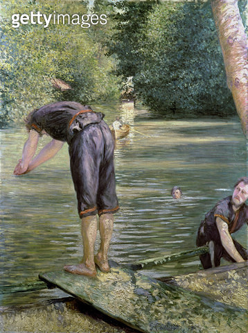 <b>Title</b> : Bathers on the Banks of the Yerres, 1878 (oil on canvas)<br><b>Medium</b> : oil on canvas<br><b>Location</b> : Private Collection<br> - gettyimageskorea