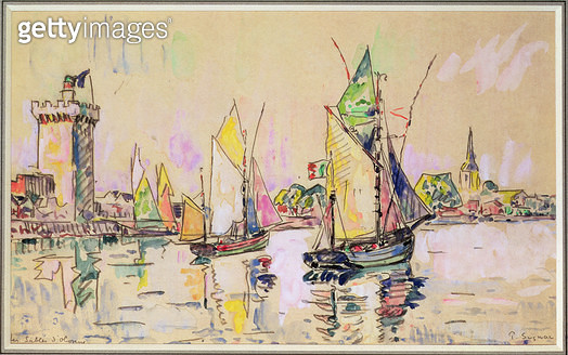 <b>Title</b> : Sailing Boats at Les Sables-d'Olonne (w/c on paper)<br><b>Medium</b> : watercolour on paper<br><b>Location</b> : Private Collection<br> - gettyimageskorea