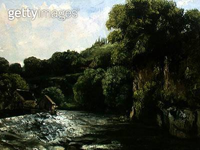 <b>Title</b> : The Lock on the Loue, 1867 (oil on canvas)<br><b>Medium</b> : oil on canvas<br><b>Location</b> : Private Collection<br> - gettyimageskorea