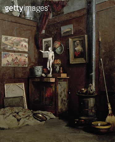 <b>Title</b> : Interior of a Studio, c.1872-74 (oil on canvas)<br><b>Medium</b> : oil on canvas<br><b>Location</b> : Private Collection<br> - gettyimageskorea