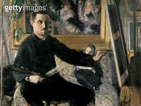 <b>Title</b> : Self Portrait with an Easel, c.1879 (oil on canvas)Additional InfoMoulin de la Galette by Renoir in background;<br><b>Medium</b> : oil on canvas<br><b>Location</b> : Private Collection<br> - gettyimageskorea