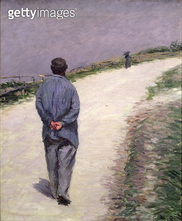 <b>Title</b> : Pere Magloire on the Road to Saint-Clair, Etretat, 1884 (oil on canvas)<br><b>Medium</b> : oil on canvas<br><b>Location</b> : Private Collection<br> - gettyimageskorea