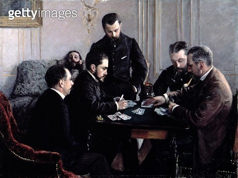 <b>Title</b> : The Bezique Game, 1881 (oil on canvas)<br><b>Medium</b> : oil on canvas<br><b>Location</b> : Private Collection<br> - gettyimageskorea