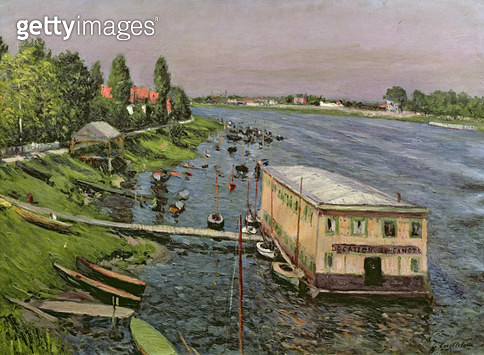<b>Title</b> : The Pontoon at Argenteuil, c.1886-87 (oil on canvas)<br><b>Medium</b> : oil on canvas<br><b>Location</b> : Private Collection<br> - gettyimageskorea