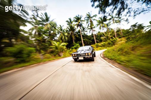 Vintage car on forest road - gettyimageskorea