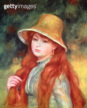 <b>Title</b> : Young girl with long hair, or Young girl in a straw hat, 1884<br><b>Medium</b> : oil on canvas<br><b>Location</b> : Galerie Daniel Malingue, Paris, France<br> - gettyimageskorea