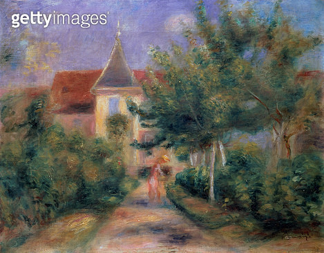 <b>Title</b> : Renoir's house at Essoyes, 1906 (oil on canvas),<br><b>Medium</b> : oil on canvas<br><b>Location</b> : Galerie Daniel Malingue, Paris, France<br> - gettyimageskorea