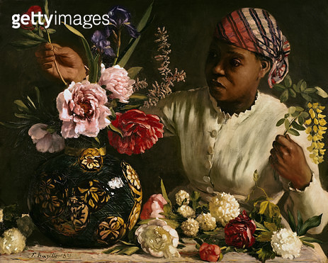 <b>Title</b> : Negress with Peonies, 1870 (oil on canvas)<br><b>Medium</b> : oil on canvas<br><b>Location</b> : Musee Fabre, Montpellier, France<br> - gettyimageskorea