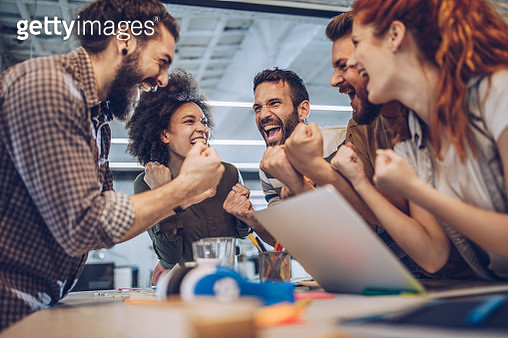 Celebrating success in the office! - gettyimageskorea