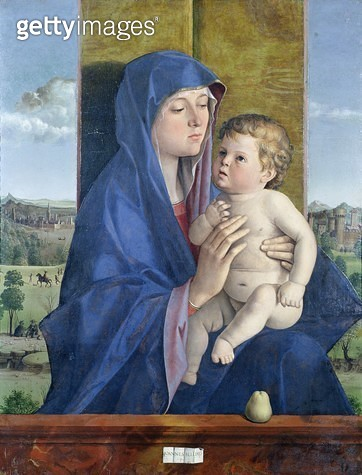 <b>Title</b> : Virgin of the Pear (oil on panel)<br><b>Medium</b> : oil on panel<br><b>Location</b> : Galleria dell' Accademia Carrara, Bergamo, Italy<br> - gettyimageskorea