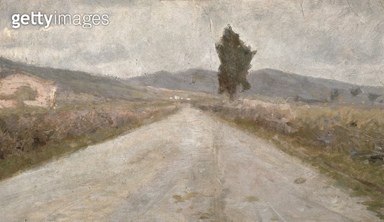 <b>Title</b> : The Tuscan Road, c.1899 (board)<br><b>Medium</b> : oil on board<br><b>Location</b> : Museo Civico Fattori, Livorno, Italy<br> - gettyimageskorea