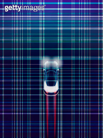 Auto driving smart car in cyber space made of light trail - gettyimageskorea