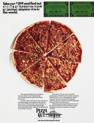 PIZZA HUT AD, 1970. /nAdvertisement from an American magazine, 1970. - gettyimageskorea