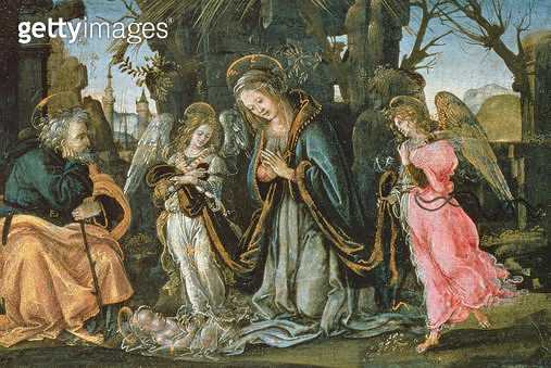 <b>Title</b> : Nativity with Two Angels, possibly early 1490s (panel)<br><b>Medium</b> : oil on panel<br><b>Location</b> : National Gallery of Scotland, Edinburgh, Scotland<br> - gettyimageskorea