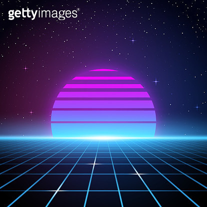 A retro-futuristic style background, emulating science fiction movies from the 1980s. Glowing grid lines flow up towards a retro striped sun or planet looming on the horizon beneath the stars and night sky. With the current revival of 80s design styles, t - gettyimageskorea
