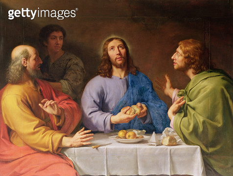 <b>Title</b> : The Supper at Emmaus (oil on canvas)<br><b>Medium</b> : oil on canvas<br><b>Location</b> : Musee des Beaux-Arts, Angers, France<br> - gettyimageskorea