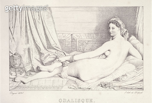 <b>Title</b> : L'Odalisque Couchee, 1825 (litho & carbon ink on paper)<br><b>Medium</b> : lithograph and carbon ink on paper<br><b>Location</b> : Fitzwilliam Museum, University of Cambridge, UK<br> - gettyimageskorea