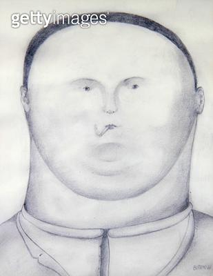 <b>Title</b> : The Smoker (Self Portrait) 1967 (pencil on paper)<br><b>Medium</b> : pencil on paper<br><b>Location</b> : Private Collection<br> - gettyimageskorea