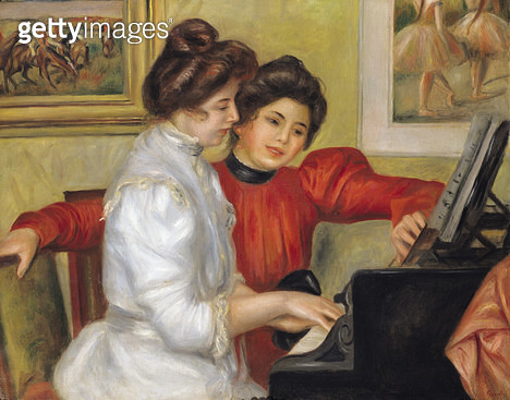 <b>Title</b> : Yvonne and Christine Lerolle at the piano, 1897 (oil on canvas)<br><b>Medium</b> : oil on canvas<br><b>Location</b> : Musee de l'Orangerie, Paris, France<br> - gettyimageskorea