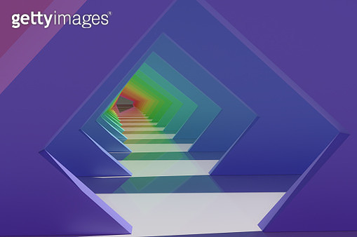 Colorful futuristic corridor background with nice geometric frame pattern. - gettyimageskorea