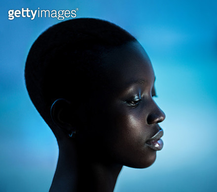 Side profile of beautiful African American girl - gettyimageskorea