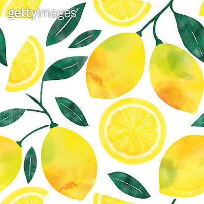 Watercolor Hand Painted Lemons and Lemon Slices Seamless Pattern. Spring, Summer Concept Background. - gettyimageskorea