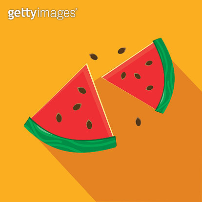 Watermelon slices Flat Design BBQ or barbecue  themed Icon with shadow - gettyimageskorea